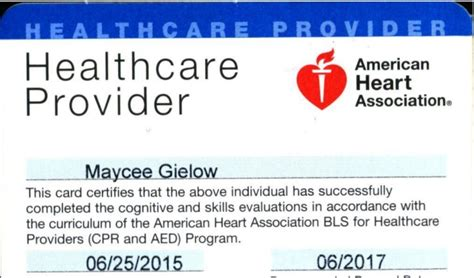 aha healthcare provider card template cpr certification card images search
