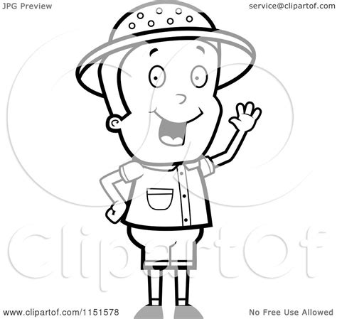 safari person coloring page cartoon clipart of a black and white waving safari boy