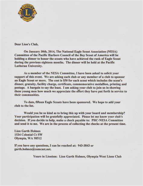 Fundraising Letter For Eagle Scout Project rainier lions club november 2013