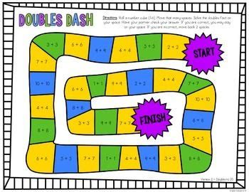 printable doubles games teaching doubles addition second grade 65 printable