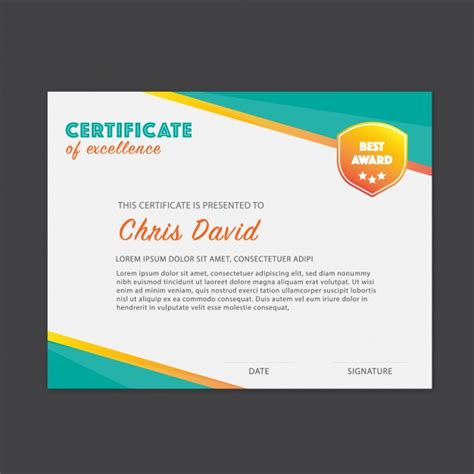 ai certificate template ai certificate of excellence template vector free