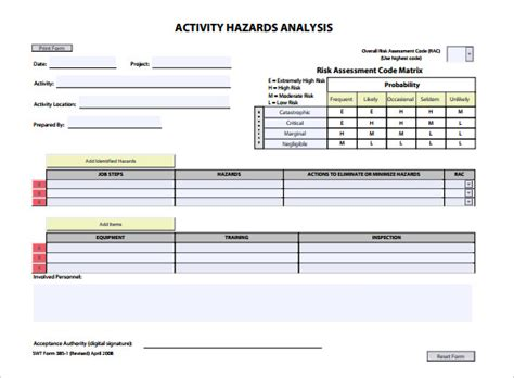 Hazard Assessment Template by Hazard Analysis Template 11 Free Word Excel Pdf