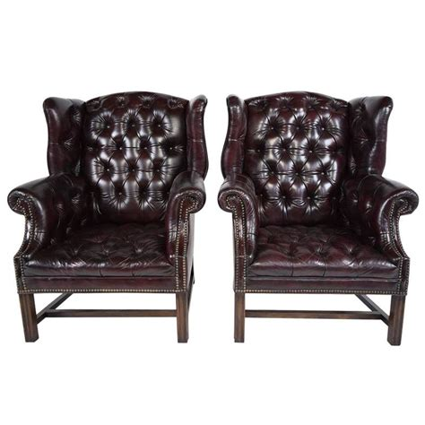 pair of leather wingback chairs pair of chesterfield tufted leather wingback chairs at 1stdibs