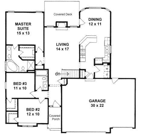 Narrow Lot Ranch House Plans by Plan 1424 3 Bedroom Narrow Lot Ranch W 3 Car Garage