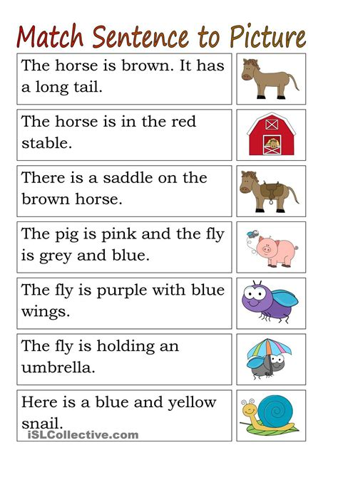 matching for and match sentence to pictures animals grade guided