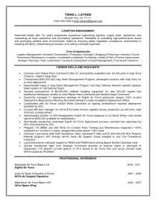 sle resume for it manager transportation manager resume exles of logistics