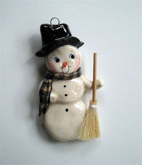 Handmade Snowman Ornaments - snowman ornament handmade bread dough by