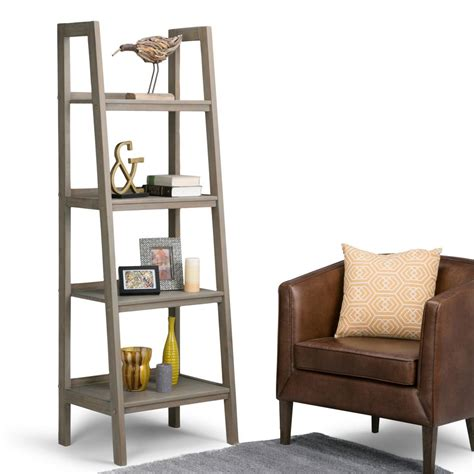 Simpli Home Sawhorse Distressed Grey Ladder Bookcase Ladder Bookcase