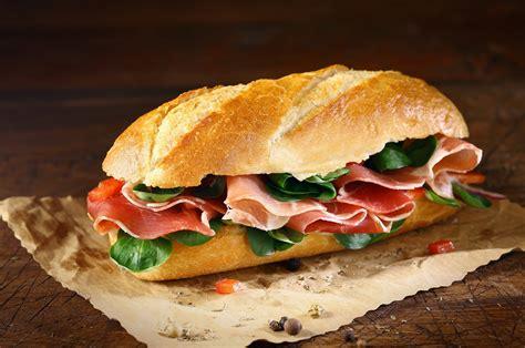 sandwich  sandwich bread baton ham salmon pepper hd
