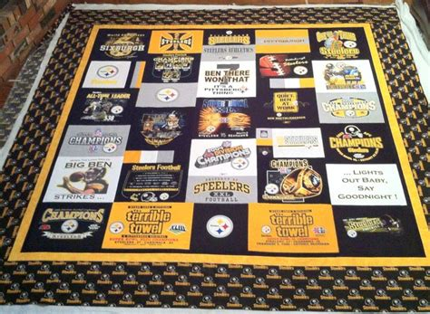 King Size T Shirt Quilt by Pittsburgh Steelers King Size T Shirt Quilt By Barcus