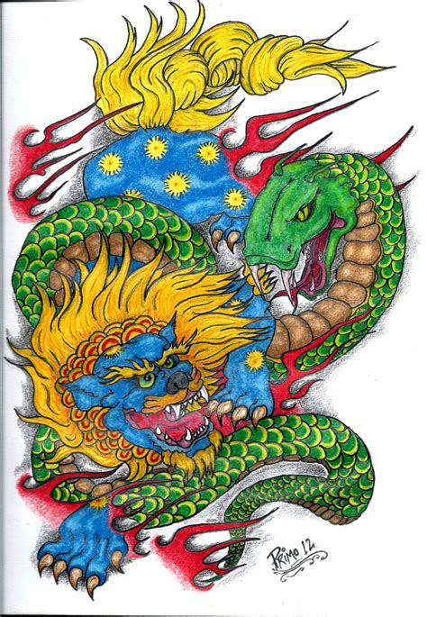 traditional foo dog tattoo designs foo and serpent by primero on deviantart