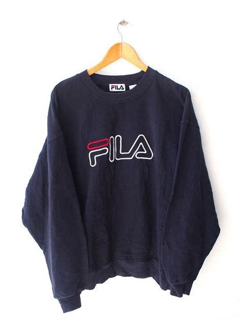 Jaket Fila Hoodie Jumper fila big logo perugia italia 90 s vintage sweater blue