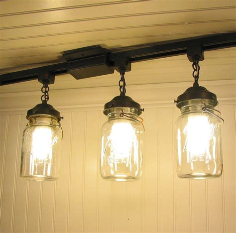 Pendant Track Lighting For Kitchen Vintage Jar Track Light Trio By Lgoods On Etsy