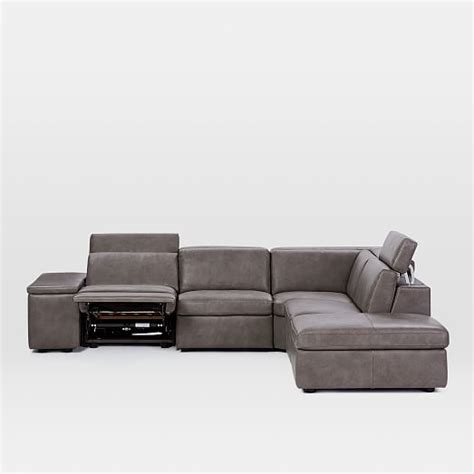enzo leather recliner chair enzo leather reclining 4 seater sectional with storage ottoman west elm