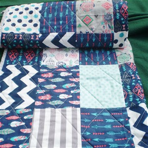 navy blue and coral bedding baby quilt navy blue grey teal coral baby from happyquilts on