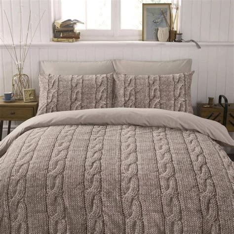 beige bedding warm beige brown wool cable knit photo print design