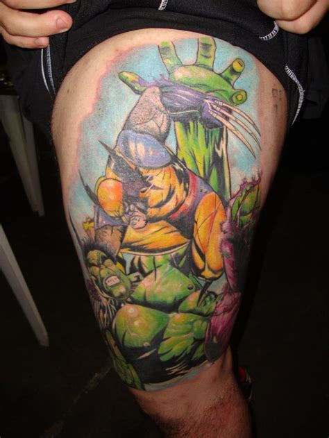 batman wolverine tattoo wolverine vs hulk tattoo cool geek tattoos pinterest
