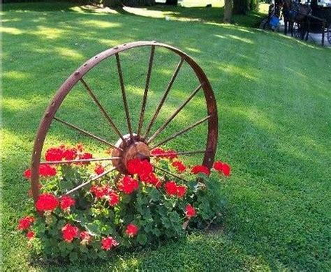 made landscaping decorations made from wagon wheels landscaping ideas
