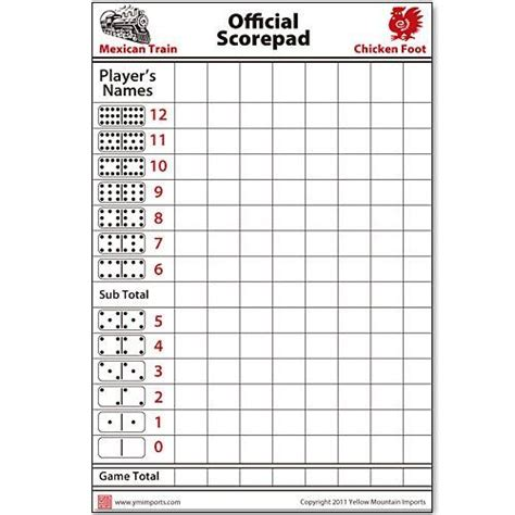 3d archery score card template domino scorepad for mexican chickenfoot 60 sheets