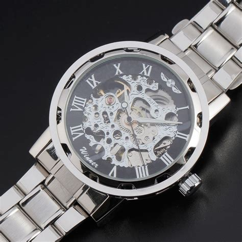 luxury skeleton wrist with stainless steel band