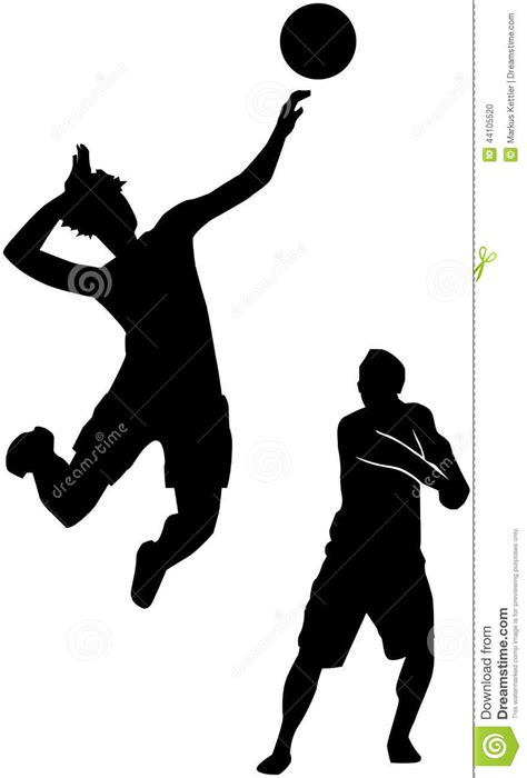 Volleyball Players Silhouette Stock Illustration - Image