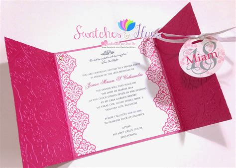 invitation card template for debut swatches hues handmade with tlc princess theme gate