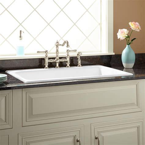 kitchen sink cast iron 36 quot frattina cast iron drop in kitchen sink 8 quot widespread white ebay