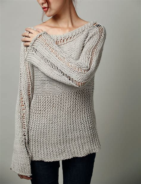 Handmade Knit Sweaters - knit sweater eco cotton oversized sweater in