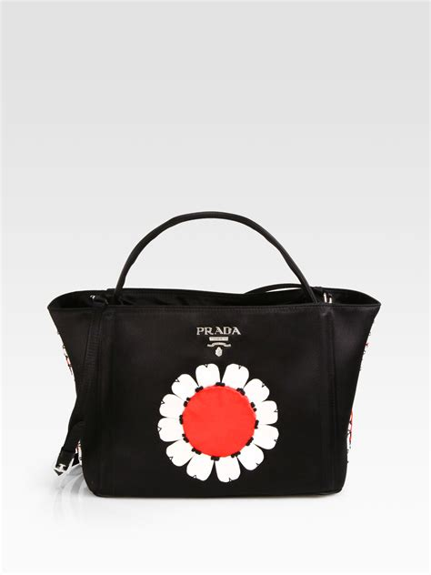 Handbag Flower 761 5 lyst prada raso flower satin basket bag in black
