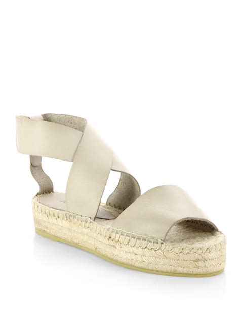 espadrille sandals vince elise leather espadrille sandals in beige luggage