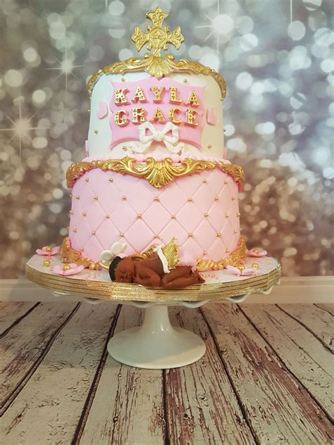 White And Gold Baby Shower by Pink Gold And White Baby Shower Cake Cakecentral