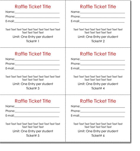 template for raffle tickets with numbers free templates for raffle tickets