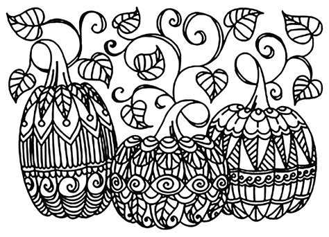 detailed pumpkin coloring pages halloween three pumpkins halloween coloring pages for