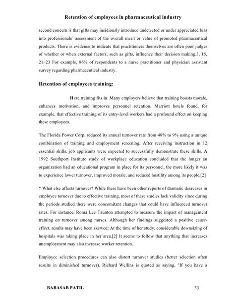 Mba Project Report On Employee Morale by Retention Of Employees Pharmaceutical Industry Project