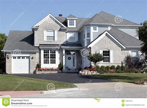 brick and siding house brick house with blue siding stock photo image 13321010
