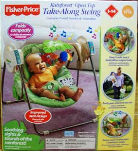 fisher price rainforest open top take along baby swing useditem2 fisher price rainforest open top take along swing