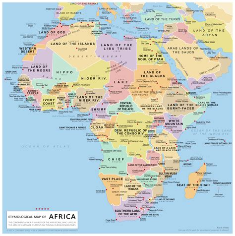 map of africa etymological map of africa maps
