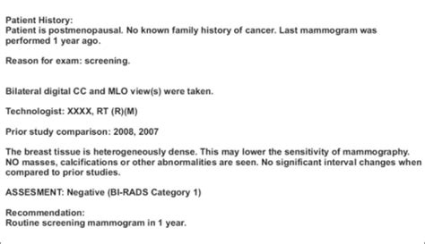 exle of a normal mammogram report in a patient with