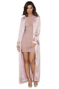 clothing jackets fabienne rose gold satin duster