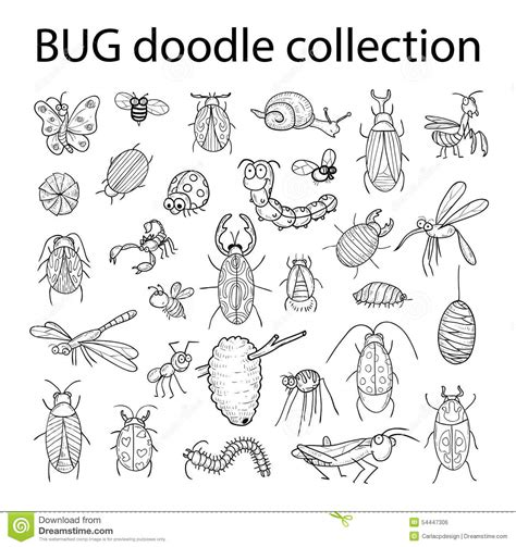 doodle bug worm insect bug icon vector illustration stock vector