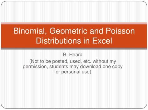 binomial geometric and poisson distributions in excel
