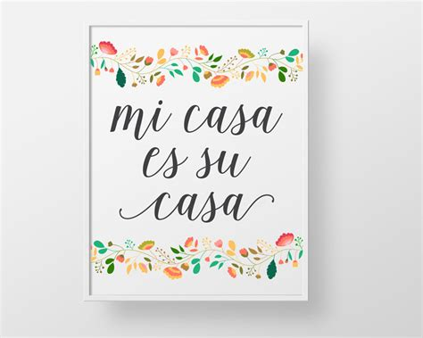mi casa su casa mi casa es su casa print wall decor art spanish colorful