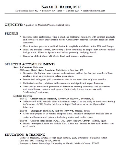chronological resume exle medical pharmaceutical sales