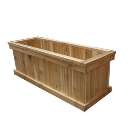 home depot wooden planters orosz outdoors 16 in x 36 in rectangular cedar planter box cg16 36 home depot canada
