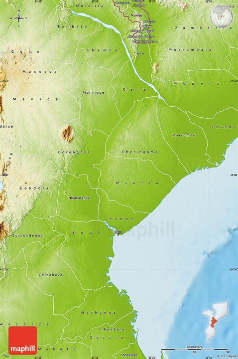 physical map of mozambique physical map of sofala