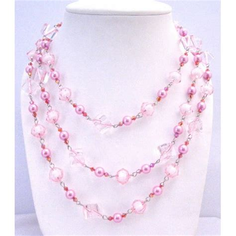 pink pearls multi sizes trendy bead necklace