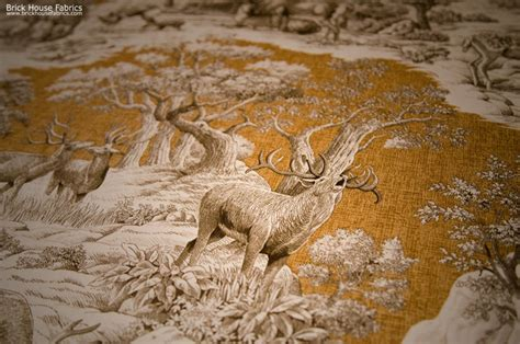 Deer Upholstery Fabric deer fabric gold toile nature woodland cabin lodge