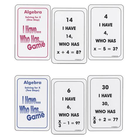 I Who Has Cards Template by Nasco I Who Has Algebra Algebra