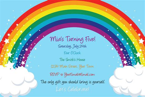 rainbow invitation card template tots and bottoms a rainbow explosion