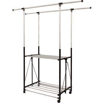 greenway collapsible bar garment rack with casters